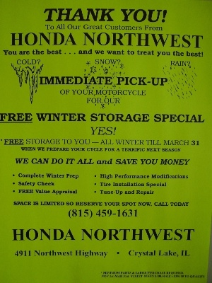 Storage Special here at Honda Northwest
